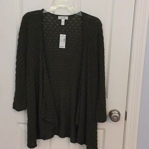 Cardigan size L 3/4 sleeve olive green NWT